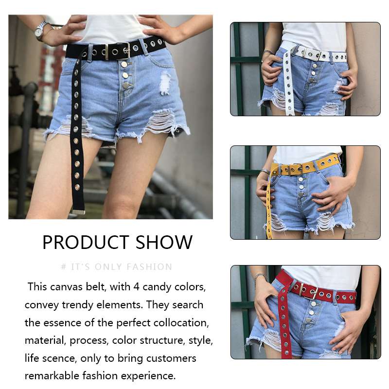 Apparel Accessories Punk Canvas Jeans Belt For Men Women Fashion Casual Waist Belts Metal Buckle Harajuku Solid Color Letter Print Female Long Belts