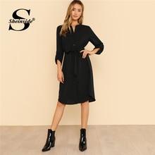 Sheinside Roll Tab Sleeve платье-рубашка женский, черный карман поясом высокая приталенное платье 2018 летней спецодежды миди платье с длинным рукавом
