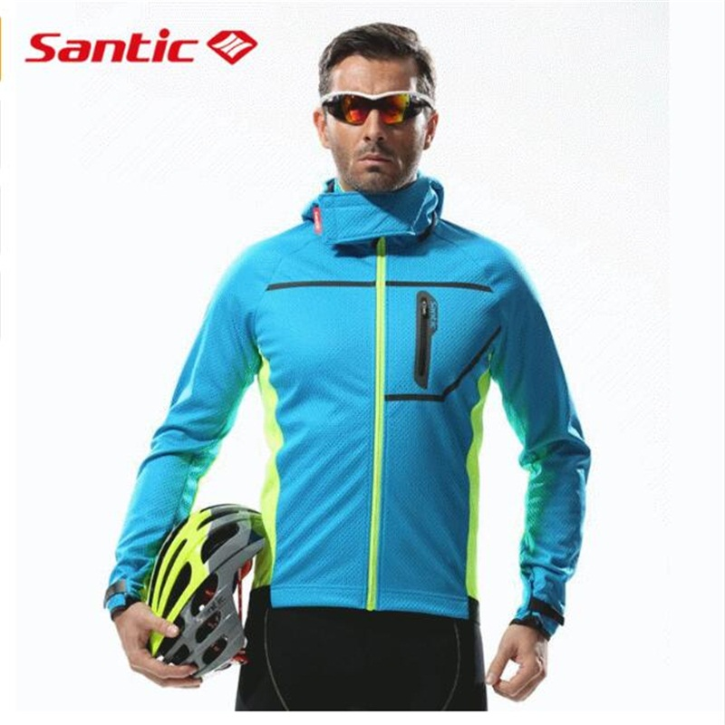 Santic Thermal Hooded Cycling Jacket Composite Carbon Fiber Windproof & Waterproof MTB Bike Jersey Sports Windbreaker santic sky cycling small raincoat windproof light jacket long sleeve cycling jersey men bike ropa ciclismo jacket m5c07014h