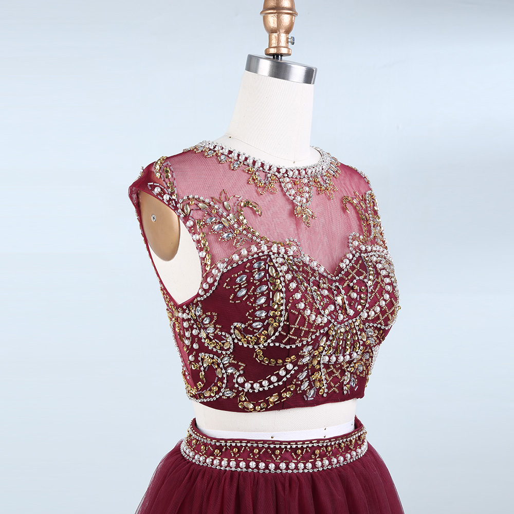 BeryLove Two Piece Skooped Short Homecoming Dresses Beading Pearls - Ерекше жағдай киімдері - фото 5