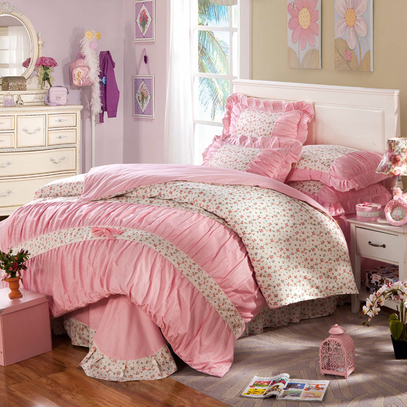 popular pink ruffled comforter sets buy cheap pink ruffled comforter sets lots from china pink. Black Bedroom Furniture Sets. Home Design Ideas