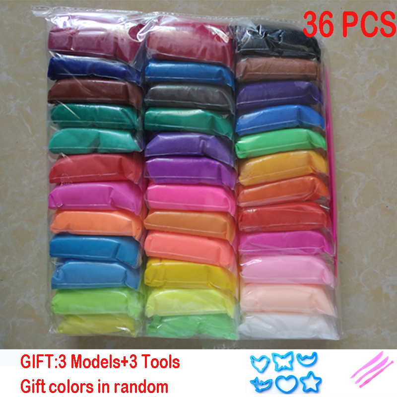 36pcs/set Slime DIY Clay Safe And Nontoxic Malleable Polymer Clay Playdough Air Clay Polymer Plasticine Modelling Light Clay