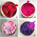 Newborn Baby Photography Prop Voile Wrap+Hat Newborn Photography Wraps Handmade Crochet 15 Color Hat Bebe Photo Props Accessory