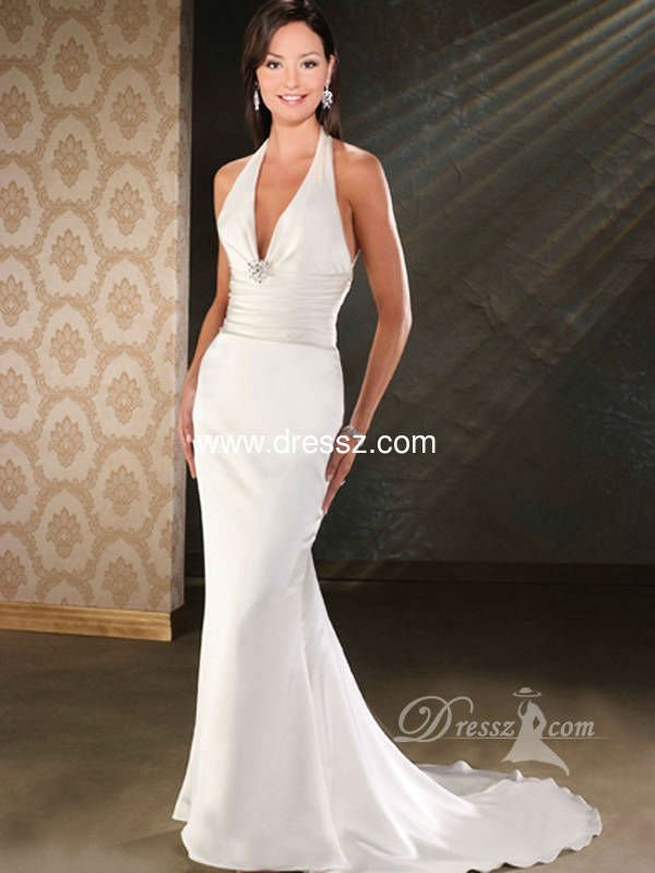Custom Handmade Top Quality Elegant Mermaid Halter V Neck Y Beaded Fit Bridal Gown Wedding Dress Vera Fashion In Dresses From