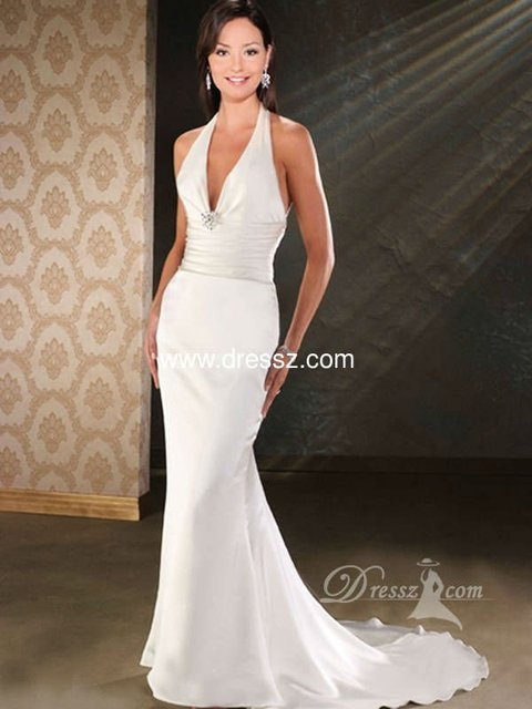 Custom handmade top quality elegant mermaid halter v neck for Tight fitted mermaid wedding dresses