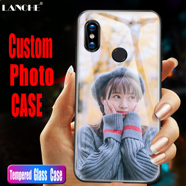 new style e4b65 8d9d4 US $2.5 27% OFF|LANCHE Tempered Glass Case For Xiaomi Redmi Note 5 Case  Customzied Personalized Photo Logo Phone Cover For hongmi note 5 Coque-in  ...