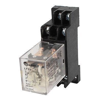все цены на  35mm DIN Rail DPDT 8 Pins Electromagnetic Relay AC 24V Coil w Socket  онлайн