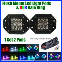 2pcs 24W Led Work Light Flush Mount Cube Pods with RGB Halo Ring Multi color Change Chasing & Wiring For Jeep ATV SUV Offroad