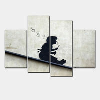 4 Pcs Set Banksy Art Blowing Bubbles On The Roof Modern Canvas Painting Wall Art Printed
