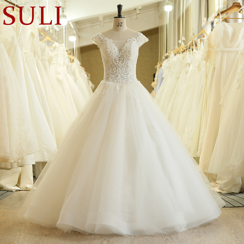 SL 614 Pearls Beaded Ball Gown Wedding Dresses 2019 New Design Lace Cap Sleeve Plus Size