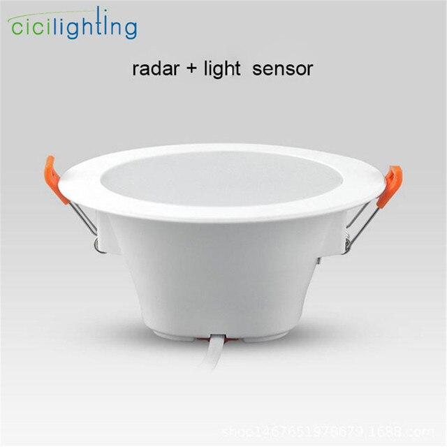 lowest price 9b608 32532 US $14.5  led sensor downlight, radar motion + light control downlight, 5W  7W 9W living room bedroom bathroom ceiling sensor lamp night-in LED ...