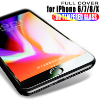 9D Tempered Glass For iPhone 7 8 6 Plus X Screen Protector Cover Protective Glass on iPhone X 6S 8 7 PLUS Film Protection Glass