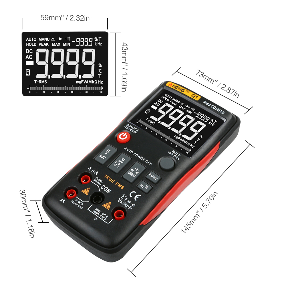 ANENG Q1 9999 Counts True RMS Digital Multimeter AC DC Voltage Current Resistance Capacitance Temperature Tester Auto Manual in Multimeters from Tools