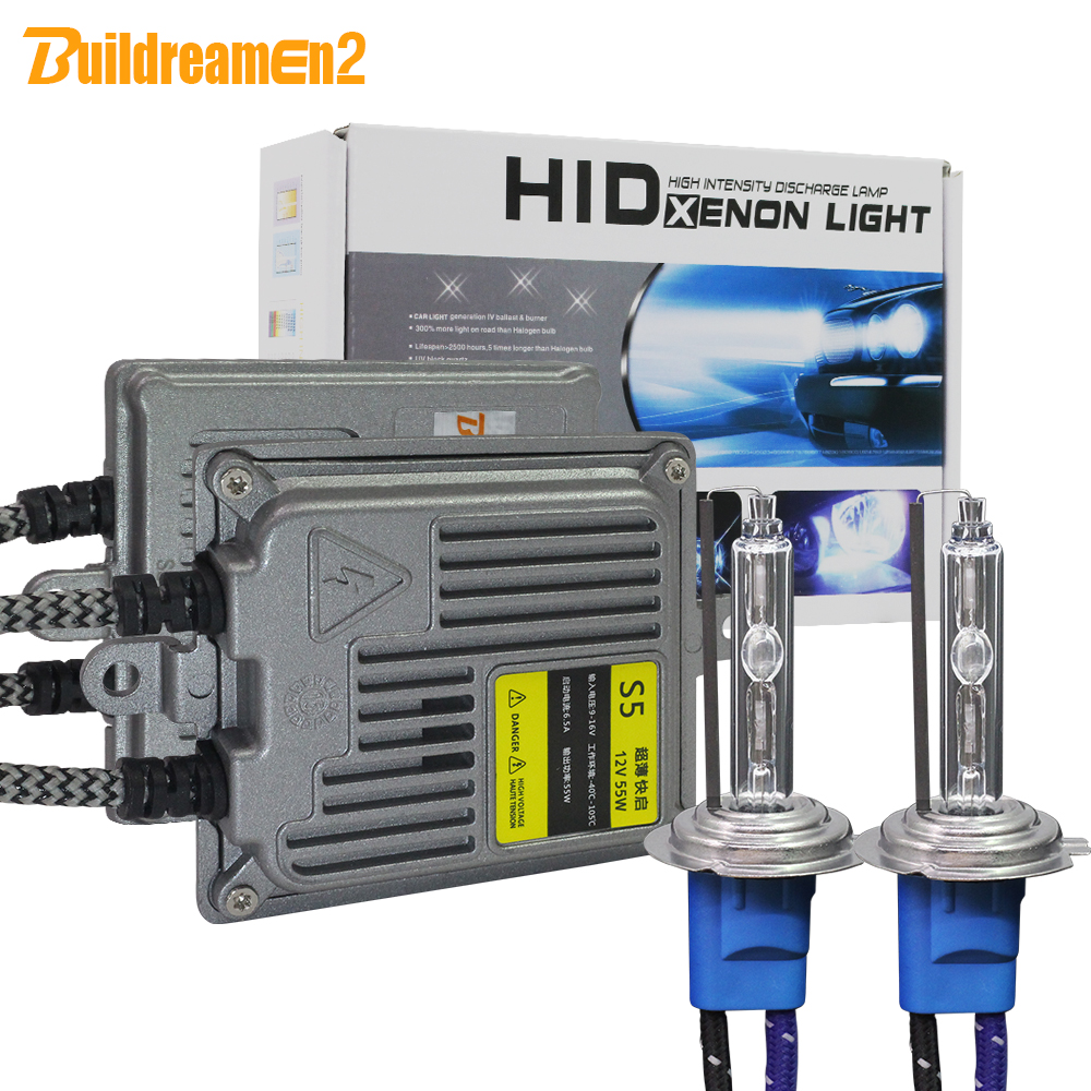 Buildreamen2 55w 10000lm High Bright Ac Xenon Kit Bulb Ballast Car Headlight Fog Light 5000k White 9005 9006 H1 H3 H7 H8 H9 H11