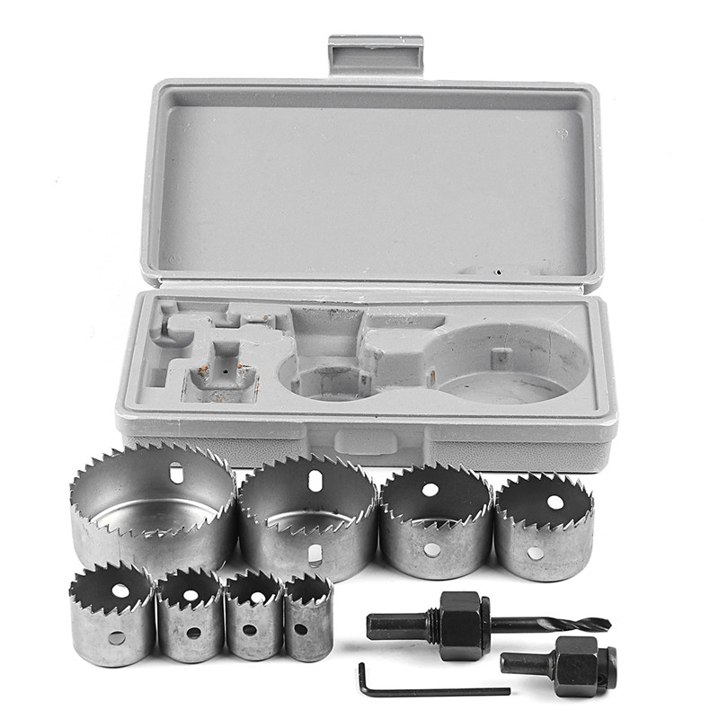 11Pcs Hole Saw Set Mandrels Hex Wrench Carbon Steel Saw Wood Metal Cutting Tool