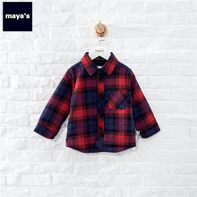 Mayas Cotton Plaid Thickening Spring Boys Shirts New Fashion Kids Gentle Printed Tops Children Warm Soft Tops Basic Wears 95101(China)