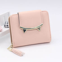 Wallet Women Purse Women's Cute Cat Anime Women Short Wallet Female Clutch Bag Female Coin Purses Card Holder Bag Tassel Wallets(China)