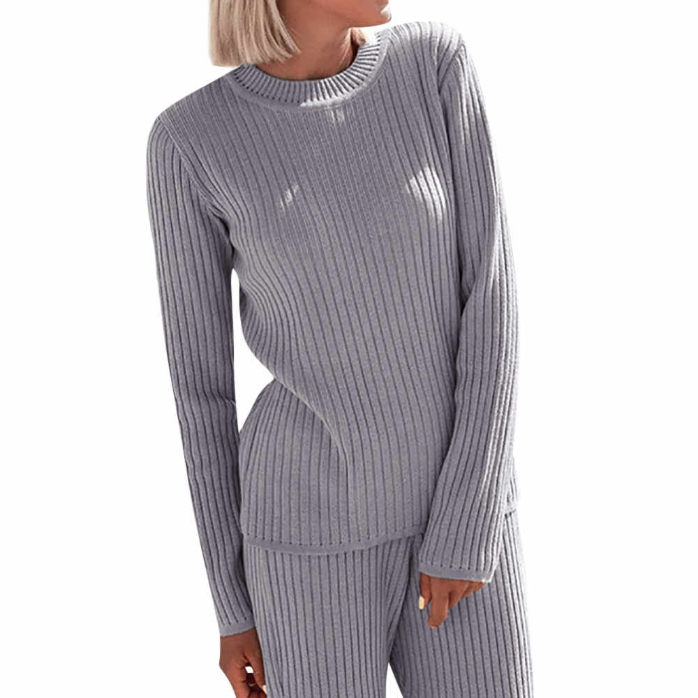 Ladies' Fall Winter Fashion Long Sleeve 2 Pieces Sweater Dress Set Women Long Sleeve Home Wear Casual Gray Dresses Clothing Suit