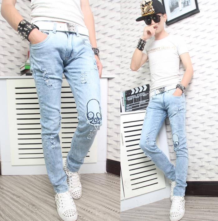 ФОТО Spring fashion blue youth england skull straight jeans mens pant man denim trousers hole patch beggar slim personalized style