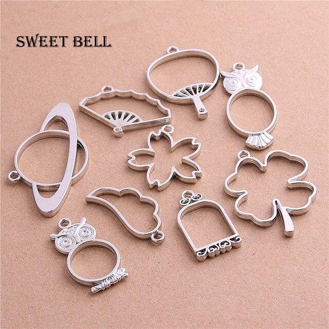 Sweet Bell 18pcs mix umbrella birdcage fan bottle wing charm Hollow glue blank p
