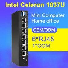 6 Lan Мини-ПК Gigabit NIC Celeron 1037U двухъядерный Окна 10 неттоп pc Run pfsense Firewall мягкая маршрутизатор OS без вентилятора MiniPC