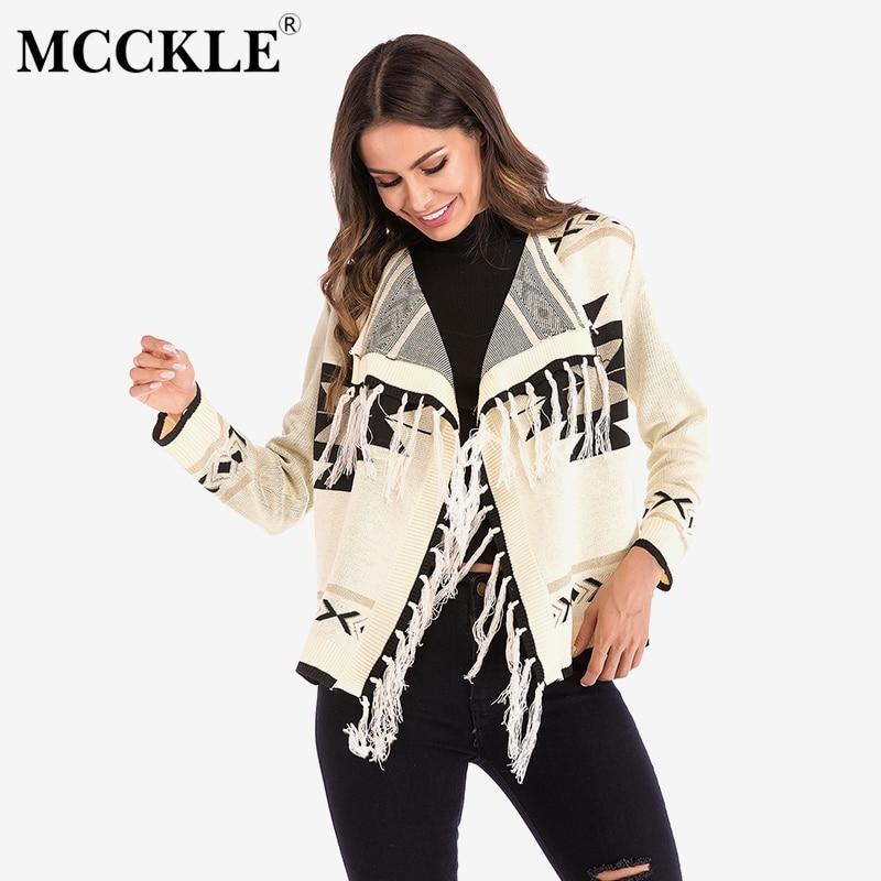 Winter Cardigans Tassel Coat Geometric Long-Sleeve Women's Patchwork Spring Short Outwear