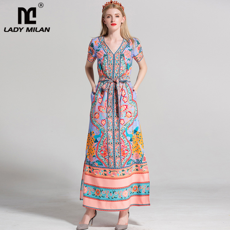 New Arrival 2018 Womens Sexy V Neck Short Sleeves Printed Beaded Side Pockets Sash Belt High Street Runway Long Dresses