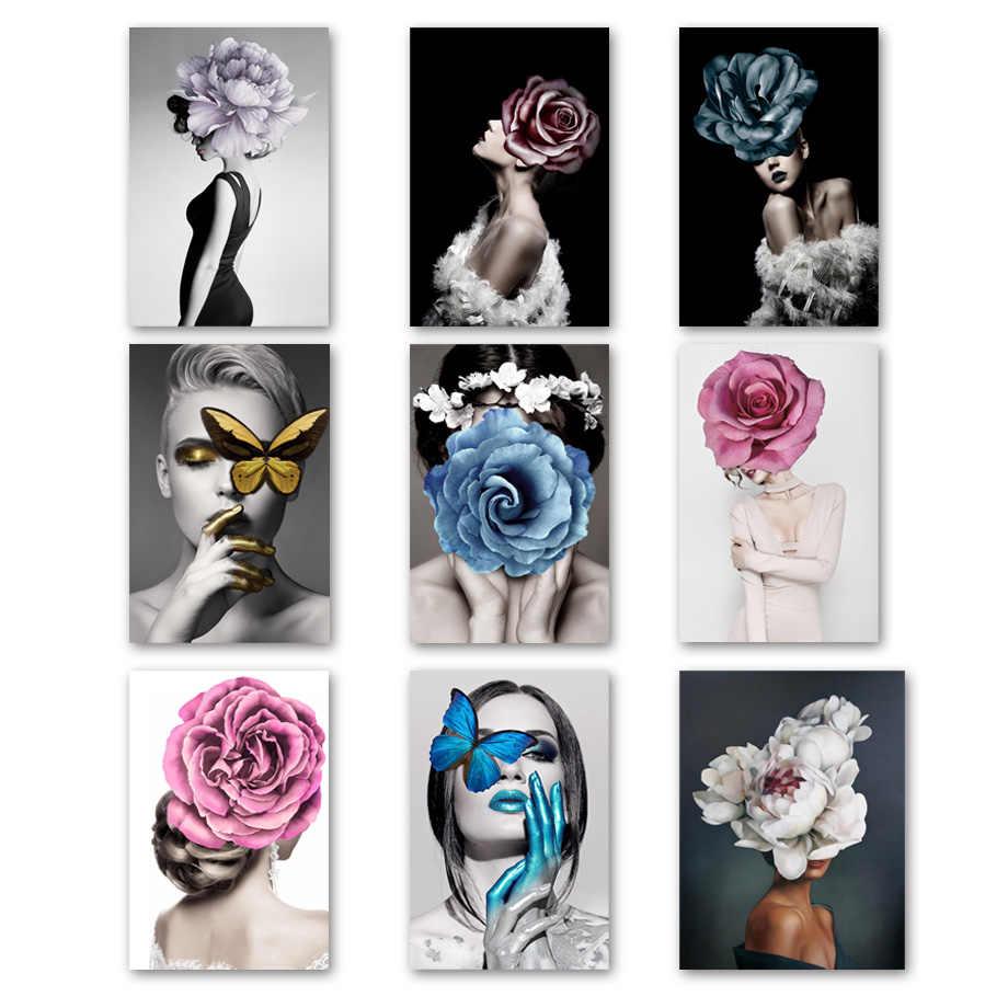 Abstrait fille Rose fleur paysage mur Art toile peinture nordique affiches et impressions photos murales pour salon décor à la maison