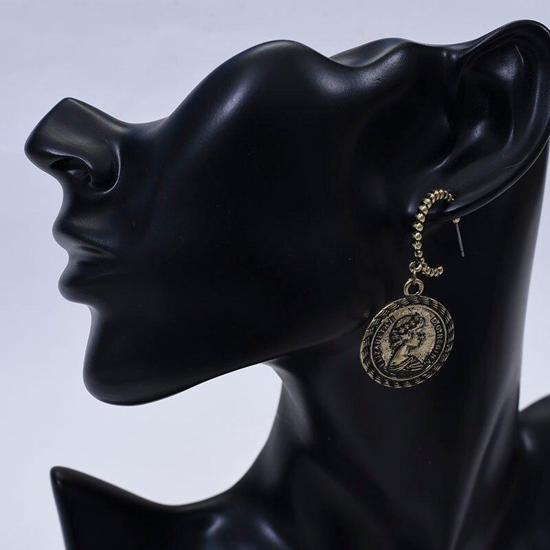Carvejewl vintage earrings beauty queens head coins drop dangle earrings for women jewelry European classic earrings wholesale in Drop Earrings from Jewelry Accessories