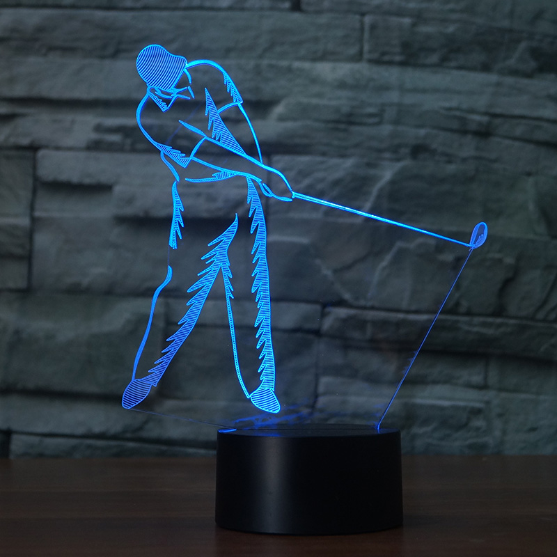 3D stereoscopic Playing golf colorful LED night light 7 color for home decor or gift touch button USB