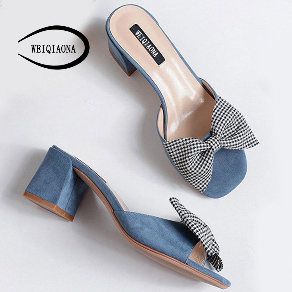 ... WEIQIAONA Shoes Heels Bow Women Party 2018 Dress Open Toe Women Summer  Chunky Casual Big Shoes e113ed1ad39d