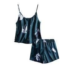 Elegant Pajamas Women Silk Cartoon Set Sleeveless V-Neck Summer Sexy Pajama for Homewear Shorts 2 Piece Sets