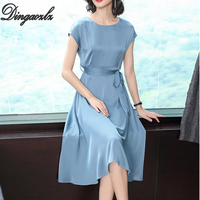 Dingaozlz Elegant Plus size Dress Medium long Summer Short sleeve Casual dress 2019 New Bow tie Silk Women dress Vestidos