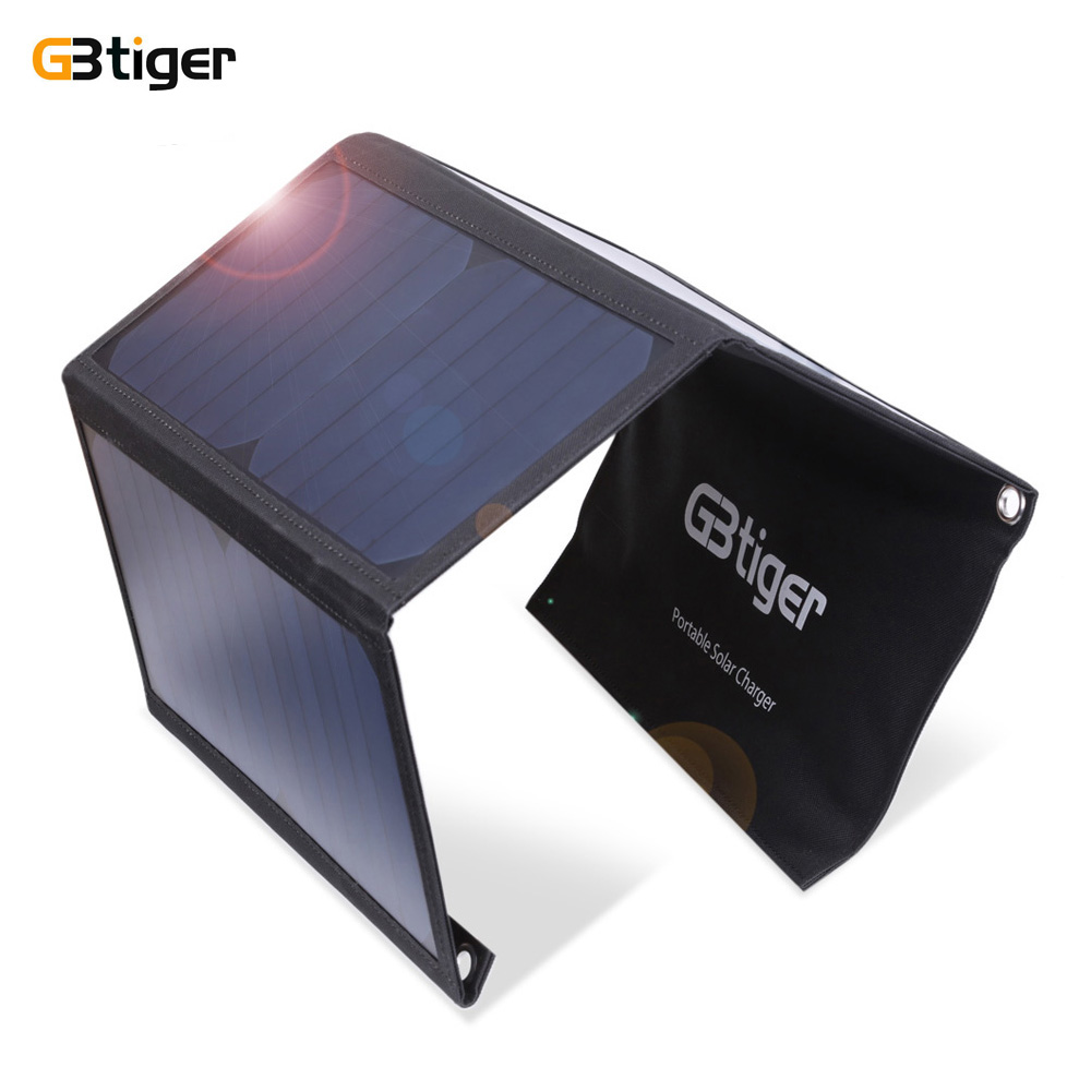 GBtiger 21W Dual USB Portable Sunpower Solar Charger Panel Power Emergency Water Resistant Folding Bag 5V 3.2A Output 2 USB Port gbtiger black
