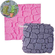 M476 Dry Wall Formas De Silicone Mold Castle Stone Bark Cake Tools Fondant Cake Molds Cupcake Mould Chocolate Kitche 10*10*0.4CM