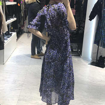 2019 New Summer Women Midi Dress Ladies color matching print long dress V-neck Bubble sleeve with belt