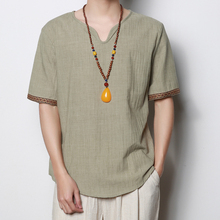 FSCboy Men Linen Shirts 2018 Summer Fashion Short Sleeve Loose Shirt Chinese Style Casual Wear Soft Comfortable