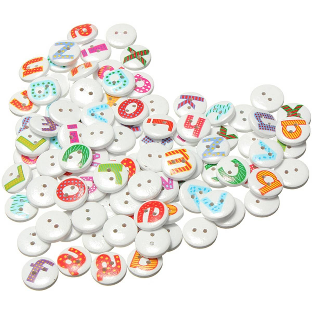 100Pcs Mixed Painted Letter Alphabet Wooden Sewing Button Scrapbooking ...