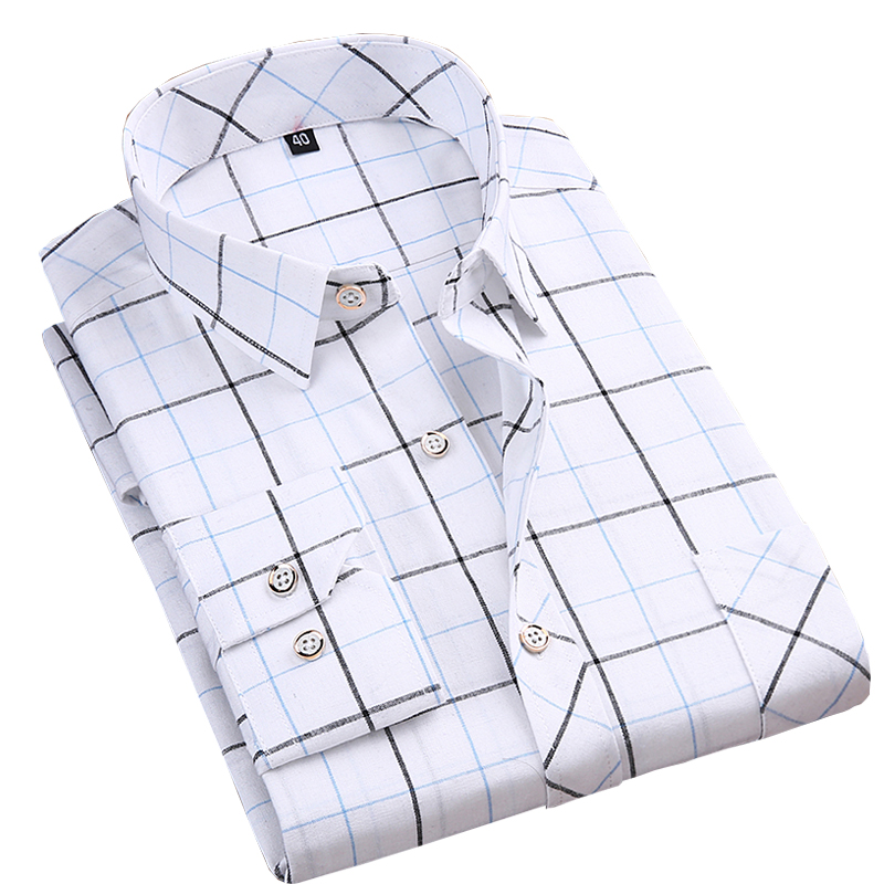 New Long Sleeve Good Quality Slim Fit Men Casual Plaid Shirts Fashion Soft Square Collar Business Male Leisure Tops