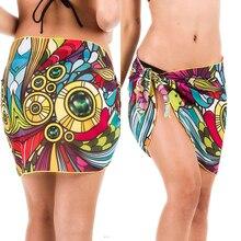 Women sexy casual Beach style Wrap Pareo chiffon Skirt ladies fashion print high waist bandage sexy one piece short skirt