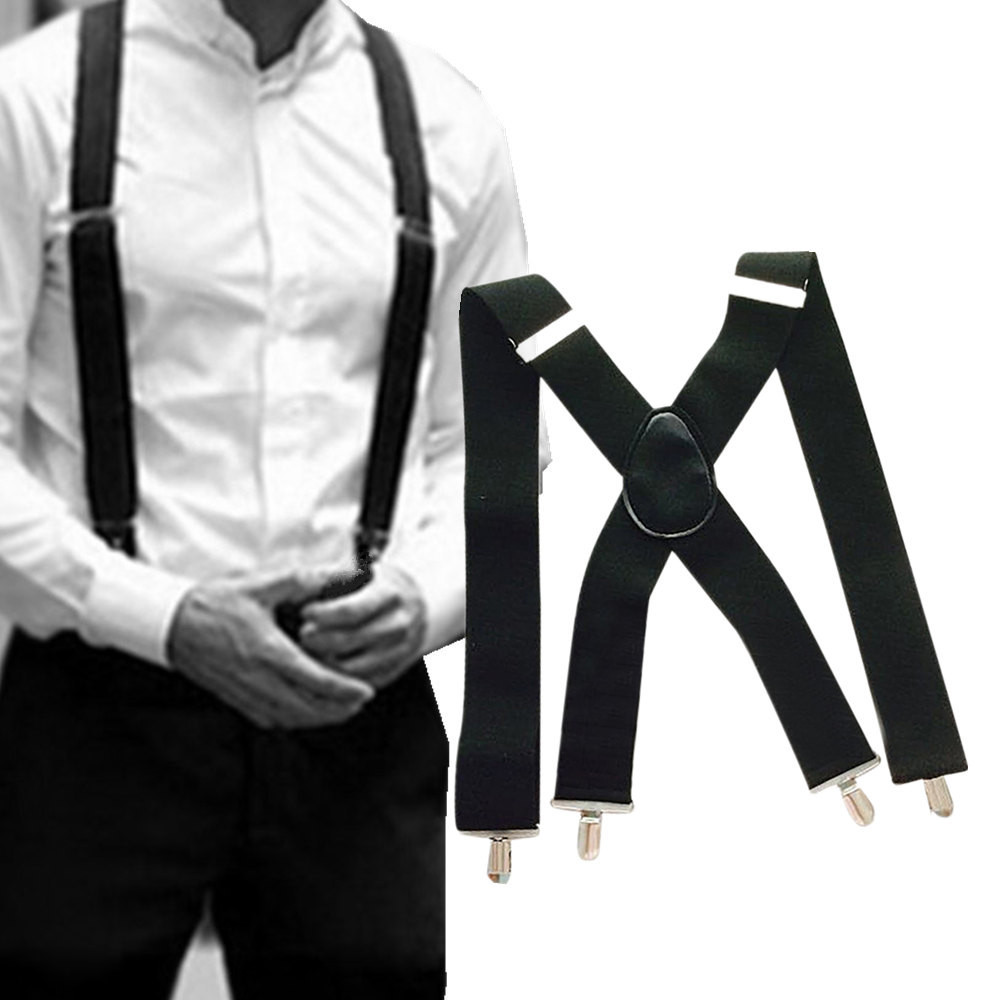 50mm Wide Men X-Back X Shape Heavy Duty Trousers Brace Suspenders With Clips GH