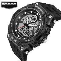 SANDA Grote Wijzerplaat Outdoor Mannen Sport Horloges LED Digitale Horloges Waterdicht Alarm Chrono Kalender Fashion Casual Horloge