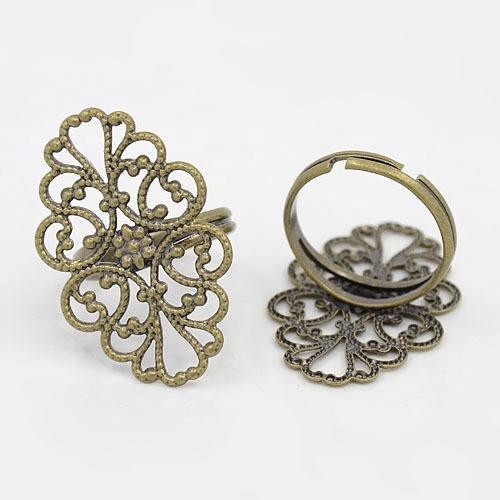 Brass Ring Components, Adjustable Filigree Ring Components, Lead Free, Antique Bronze Color, Size: Ring: about 17mm inner