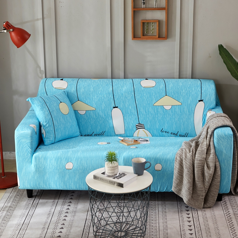 Blue Light Bulb Universal Stretch Sectional Couch Covers Cartoon