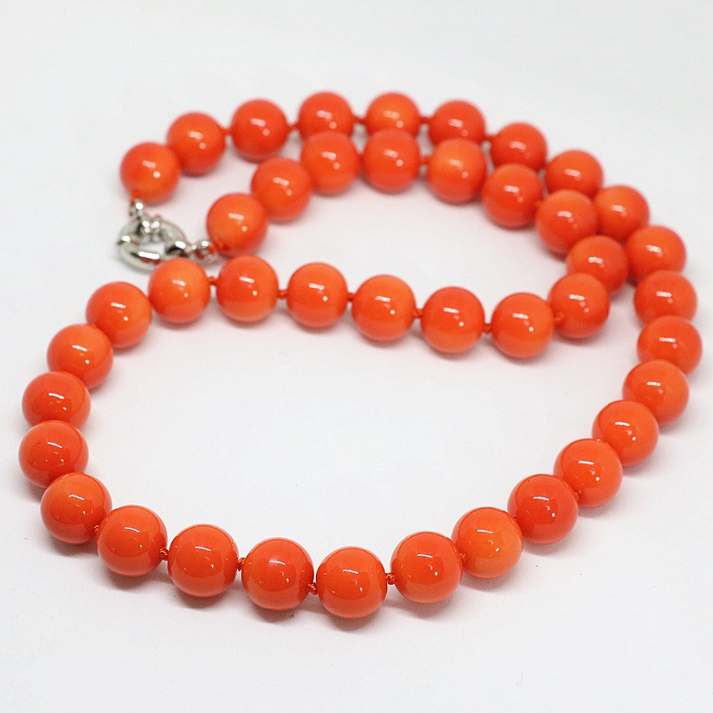 """10 mm mer rouge corail perles rondes Collier 18/"""""""