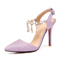 New Stylish Women Sandals 2017 Gorgeous String Bead Pointed Toe Thin Heels Sandals Purple Pink Silver Shoes Woman Plus Size 4 15