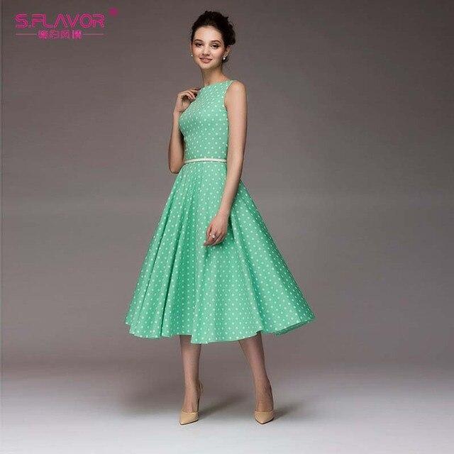 Dot Printing Vintage Dress...