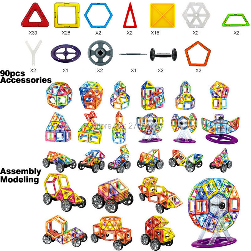цены 90PCS DIY Magnetic Designer Ferris wheel building blocks Enlighten Construction Bricks magnetic toys Creative Cars Model Kit