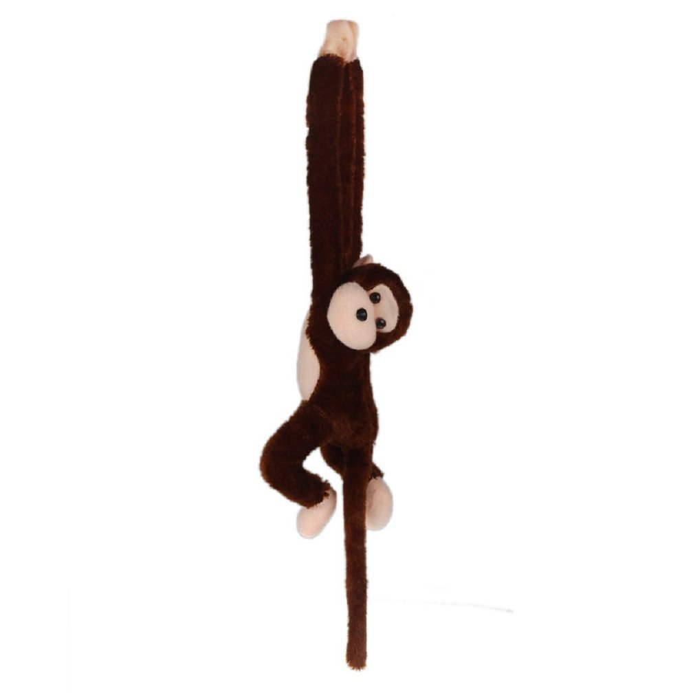 Cute Screech Gibbon Monkey Plush Doll Toy Sound Children Christmas Gift (coffee)