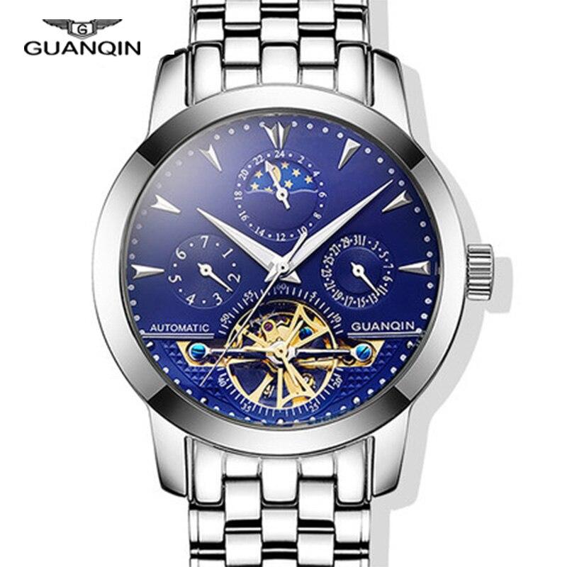 GUANQIN Tourbillon de Haute qualité montres de luxe hommes mécanique montres GUANQIN saphir Automatique Étanche 100 m hommes montres Un